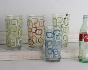 vintage - Atomic - drinking glasses - bar ware - set of 4