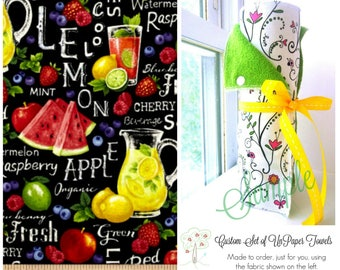 Unpaper Towels | Snapping Reusable Paper Towels | Eco Friendly Cloth Paper Towels | Farmer John | Fruits | Punch | Lemonade | Half Set of 6