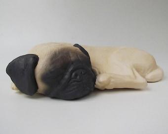 Pug Cremain Urn in Stoneware