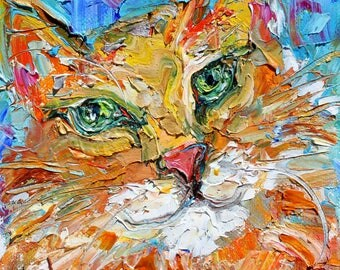 Cat Green Eyes painting original oil 6x6 palette knife impressionism on canvas fine art by Karen Tarlton