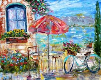 Italy Bike and Flowers painting Original oil landscape palette knife impressionism on canvas 20x24 fine art by Karen Tarlton
