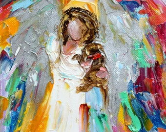 Angel and Dog painting original oil 6x6 palette knife impressionism on canvas fine art by Karen Tarlton