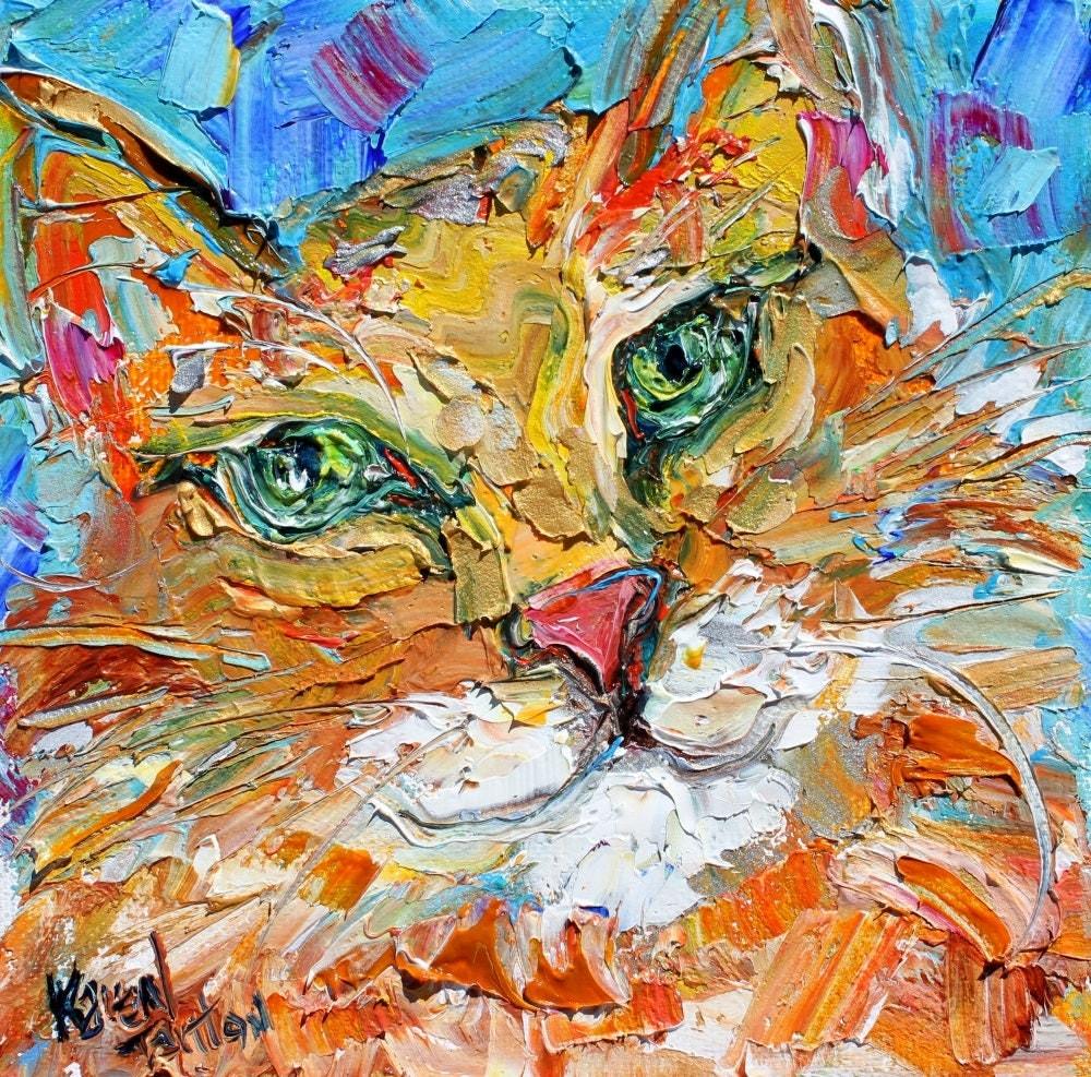 Cat Green Eyes Painting Original Oil 6x6 Palette Knife