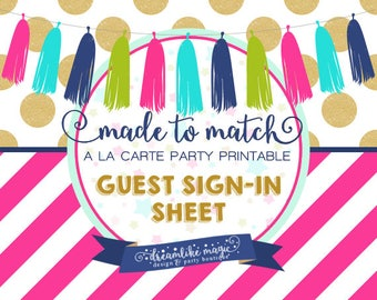 Made to Match Party Printable- Guest Sign-In Sheet