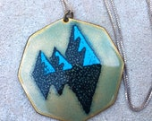 Vintage Enamel Studio Pendant Necklace OOAK Chain Not Included
