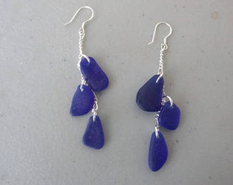 Sea Glass Earrings, Jewelry BLUE Sea Glass, Drop Seaglass Earrings, Beach Glass Dangle Earrings, Sea Glass Jewelry