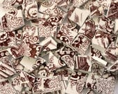 100 Dark Brown Transferware Vintage Mosaic Tiles// Broken Dish Mosaic Tiles//Craft Mosaic Supplies