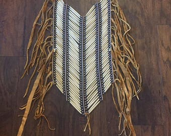 BRAIN TAN leather Real Buffalo bone breastplate native american made