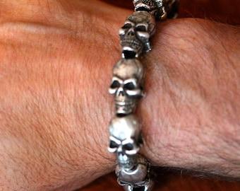 Metal 10 skull flex fit adjustable bracelet made in NYC Blue Bayer Design