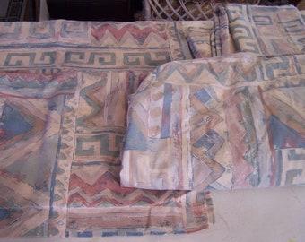 Vintage 80's Queen Sheet Set, 5 Pcs, Abstract/Geometric, Southwestern,  2 Shams, Top & Bottom Sheet, Dessert Colors