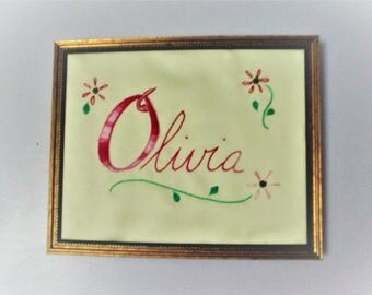 Embroidered 8 by 10 Name for Nursery Decoration Made to Order