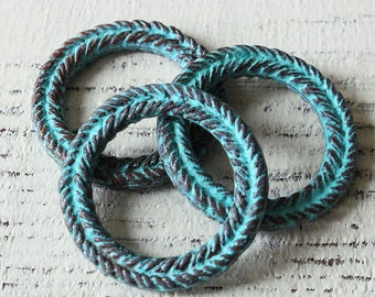 Mykonos Green Patina Beads - 29mm Braided Ring - Made In Greece - Jewelry Making Suppies - Boho Jewelry Supply - Choose Amount