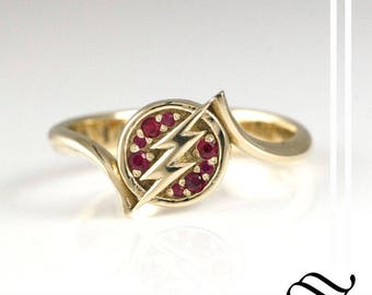 In a flash - A sterling or gold ring with natural rubies