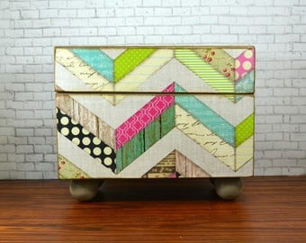 Wood recipe box, kitchen storage with a multi chevron design, beautiful wedding card box or gift for the hostess