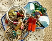 Rustic Tribal Chic - Vintage Jewelry Lot -Jewelry Destash - Red Dichoric Glass - Bird Charms - FLower Filigree - Paris - D215