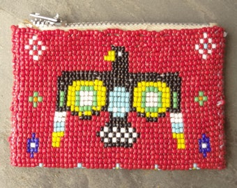 1960s Vintage Small Beaded and Leather Change Purse. Red Beads, Eagle Design, Native American Design. Bird. Coin Purse