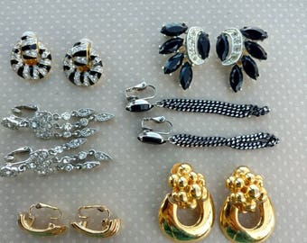 Clip On Earring Lot - Vintage Craft Lot- Jewelry Lot - Rhinestone Earring Lot - Vintage Jewelry Lot - Black White Gold Earrings - D214