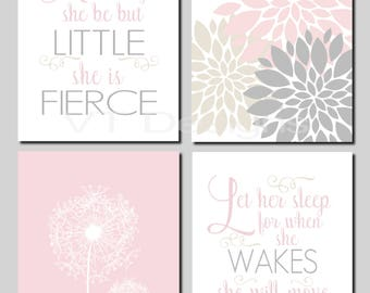 Girl Nursery, Kids Wall Art, Blush Pink, Gray, Beige, Toddler Girl, Let Her Sleep, And though she be but little, Set of 4 Prints or Canvas