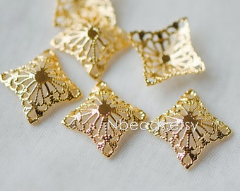 10pcs Gold Filirgree Stamping Connectors, 24K Gold plated Brass Floral Charms 20mm, Lead Nickel Free (GB-149)