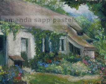 French Cottage giclee print of original pastel painting