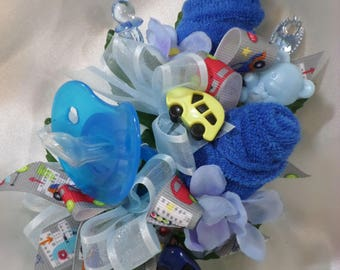 Car Themed Baby Shower Pin On Corsage - Pin On Baby Boy Corsage - Floral Corsage - Pacifier and Washcloths - Baby Shower Items
