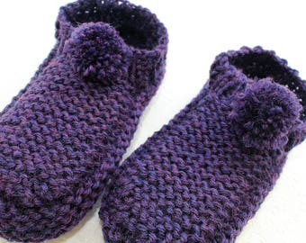Knit Mocassin Slippers, Washable Merino Wool Slippers Indigo Purple Pom Pom Slippers, Merino Wool Knit Slipper Socks, Purple Knit Slippers