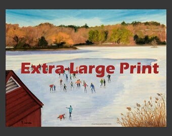Tarrytown: Skaters on the Lake, extra-large print