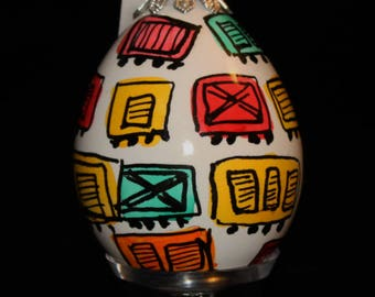 Hand Decorated Egg-Shaped Ornament (Trains)