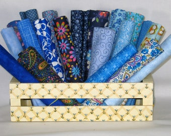 Blue Fat Quarter Bundle, 20 Fat Quarters, 100% Cotton Quilt Fabric Bundle, Cotton Fabric Blenders, Various Manufacturers