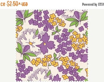 ON SALE Purple and Yellow Flowers on White 1930's Reproduction Cotton Quilt Fabric, Sara Morgan's Toy Box IV Collection 8255-4 for Blue Hill