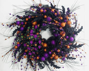 Halloween Wreath, Halloween Decor, Orange Wreath, Halloween Door Wreath, Front Door Wreath, Whimsical Wreath, Fun Halloween Wreath