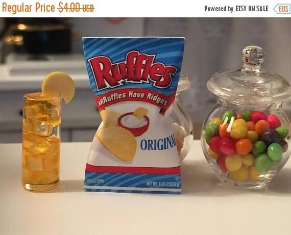 ON SALE Miniature Potato Chip Bag, Ruffles Chips, Dollhouse Miniature, Miniature Food, Dollhouse Accessory, 1:12 Scale Miniatures, Mini Food