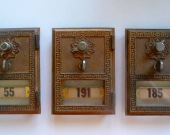 Three Vintage Greek Key Brass Post Box Doors Combination Lock Number Tag