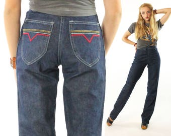 Vintage 80s High Waisted Jeans Dark Blue Denim Trousers Disco Straight Leg Tall 1980s x-small XS Embroidered Capital Pants