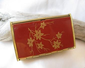 Vintage 1950s Stratton Gold Metal Cigarette Case, Pop up Lid, Red Floral Top