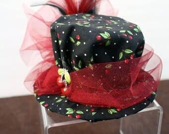 Steampunk Mini Hat Fascinator- Cherry PinUp
