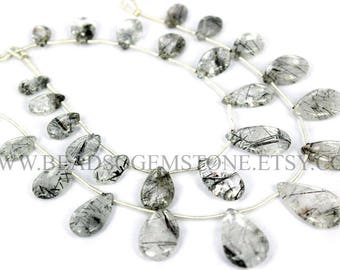 Semiprecious Beads, Tourmalinated Quartz Smooth Pear (Quality B) / 7x12 to 14.50x22 mm / 18 cm / TO-043