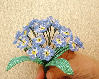 "French Beaded Flowers ... Handmade Blue ""Forget Me Not"" Bouquet"