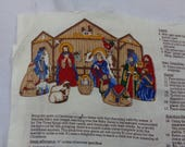 UNFINISHED Fabric DESTASH, Nativity Set to Sew, Pillows of Mary, Joseph and the Stable, Christmas Decor, Panel for Seamstress, Craft Item