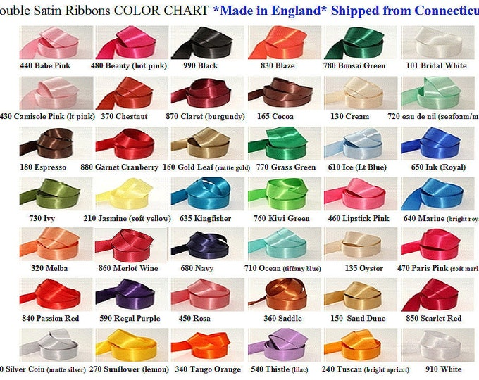 Double Face Satin 3/8 inch width woven Edge Ribbon 15 ft roll Made in England for party favors, food gifts, crafts, cards, floral, napkins