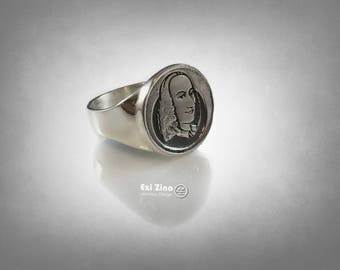 Antonio Lucio Vivaldi Italian Baroque composer  Ring Solid Sterling Silver 925 By Ezi Zino