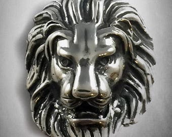 Large lion's head  pendant solid sterling silver 925