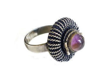Mexican Sterling Amethyst Poison Ring - Sterling Silver, Amethyst Ring, Mexico RRO, Artisan Jewelry, Vintage Ring, Size 6.25