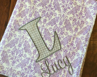 Personalized Baby Blanket- Personalized Nursery Blanket- Damask Baby Blanket- Minky Baby Blanket- Crib Bedding