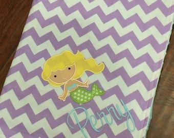 Mermaid Baby Blanket- Mermaid Nursery Blanket- Personalized Blanket