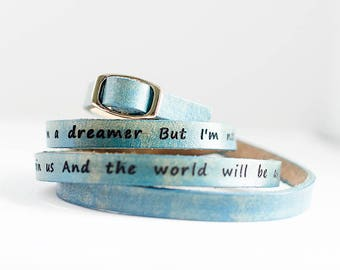 Imagine by John Lennon - Ultra Long Leather Custom Quote Leather Wrap Bracelet Leather Stacking Bracelet, Leather Cuff Bracelet, Triple Wrap