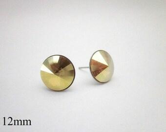 Swarovski Stud Earrings -- Gold Crystal Studs -- Yellow Post Earrings -- Sparkling Gold Stud Earrings -- Metallic Stud Earrings -- Sunshine