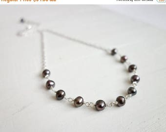 Summer Sale Gray pearl necklace minimalist necklace peacock freshwater pearls chain necklace for women