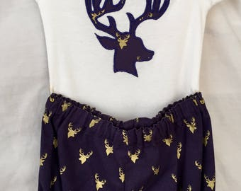 Custom Boutique DEER Appliquéd Onesie and Diaper Cover Set Romper