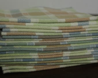 Cloth Table Napkins in Checkered Pastels, Set of 12
